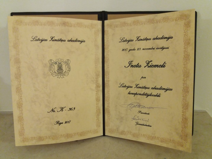 Diploma of the Latvian Academy of Science on being elected a corresponding member. Photo: Ketija Strazda