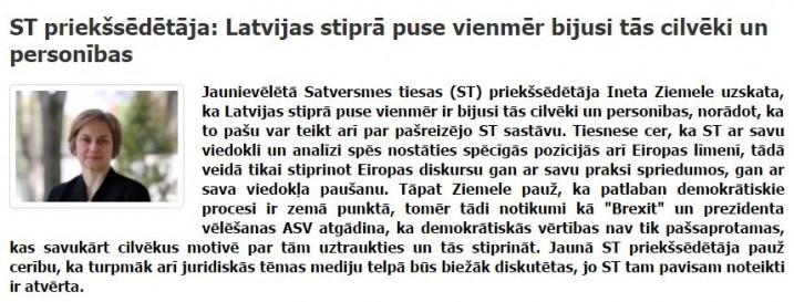 Satversmes tiesas priekšsēdētāja I.Ziemele. Foto: Ekrānšāviņš no http://www.leta.lv/plus/.