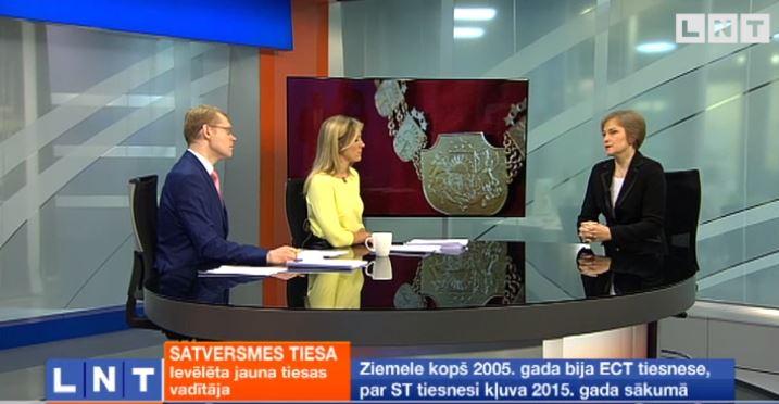 """Satversmes tiesas priekšsēdētāja I.Ziemele LNT rīta ziņu raidījumā """"900 sekundes"""". Foto: Ekrānšāviņš tvplay.skaties.lv."""