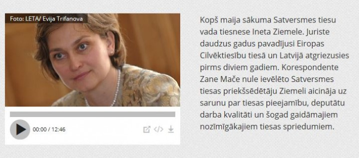 Satversmes tiesas priekšsēdētāja I.Ziemele. Foto: Ekrānšāviņš no www. lr1.lsm.lv.