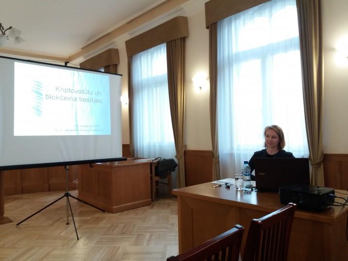 Atvērtā lekcija Satversmes tiesā par kriptovalūtām un blokčeina tiesībām. Foto: K.Strazda.